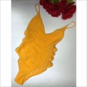 NWT Top Shop Yellow Textured One Piece Side Detail